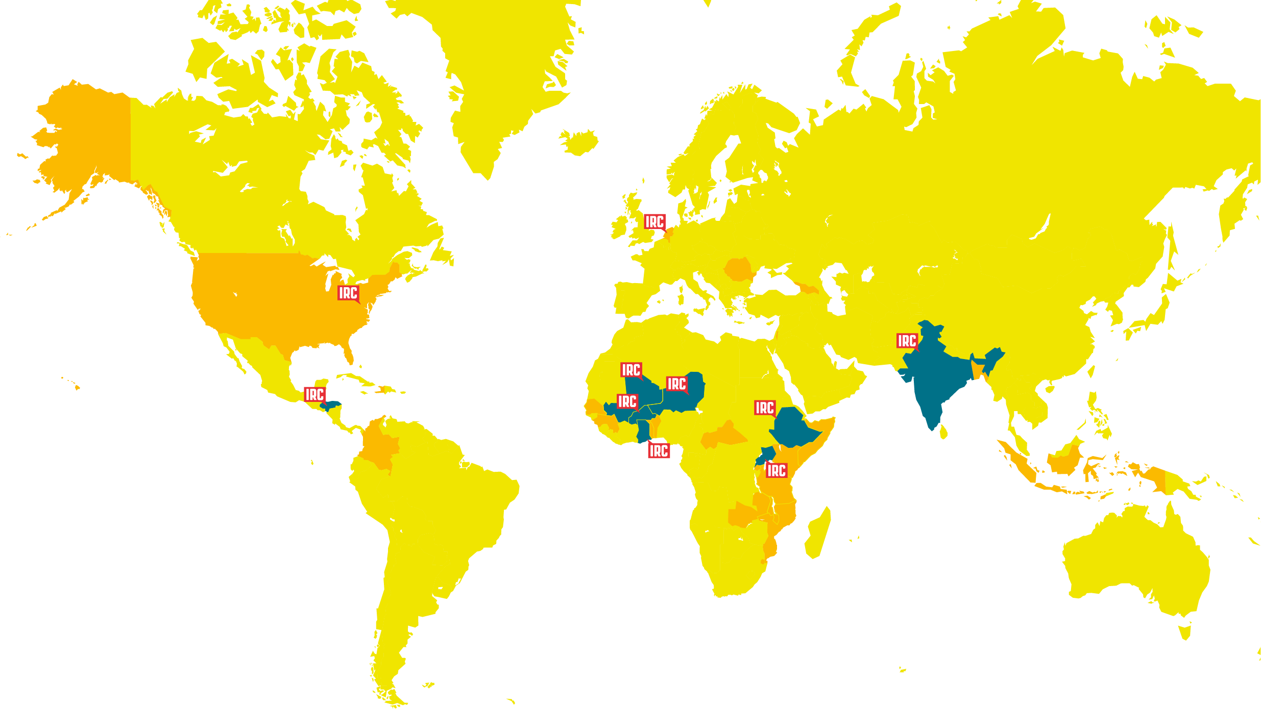 World map where IRC is active in 30 countries
