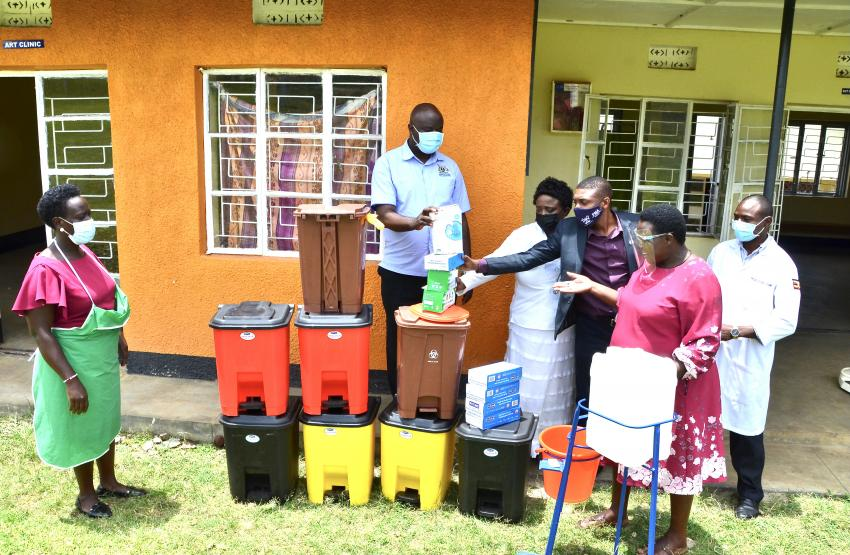 PPE distribution featuring LC5 Chair, Hon. Richard Rwabuhinga