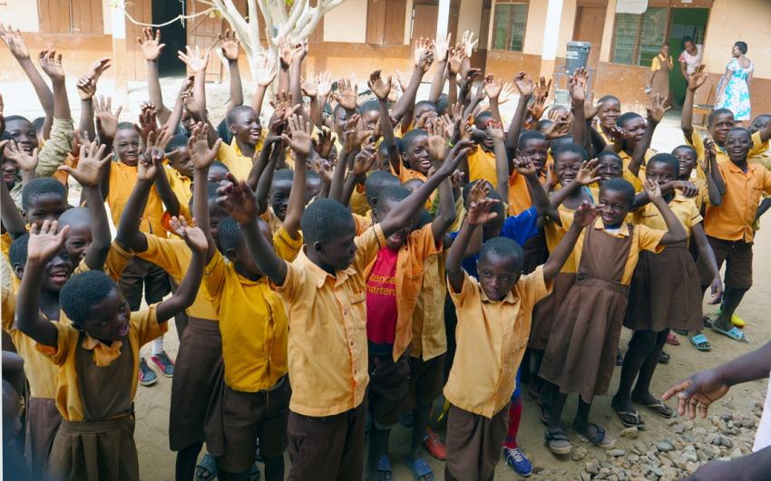 Children at morning assembly at Asaloko School, Bongo District