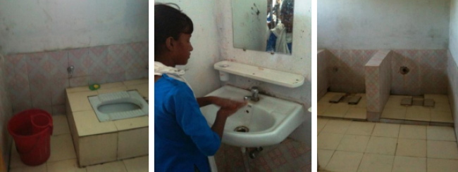 "Observation of toilet use. The toilet on the right is not being used because it does not offer privacy there is no water available and therefore does not meet the ""access"" or the ""use"" criteria"