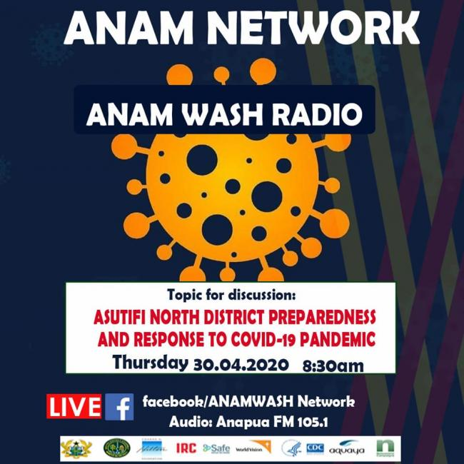 ANAM WASH radio programme poster on COVID-19