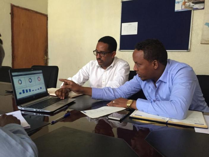 Bedri Abdulahi Gedi, Head of Water Supply at Somali Regional Water Bureau, discusses merits of various data visualisation systems..jpg