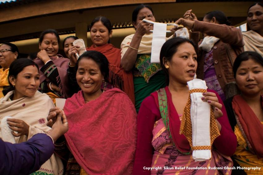 Indian women with sanitary products (Photo credit: Rudrani Ghosh photography)