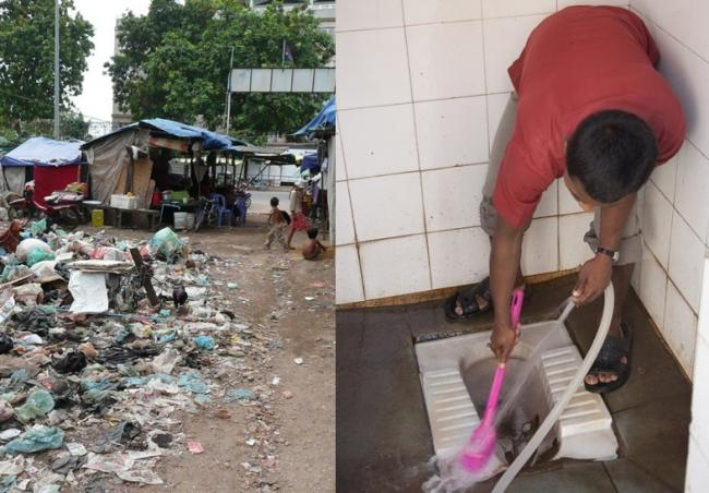 Two sides of sanitation: rubbish and cleanliness - Cambodia/India