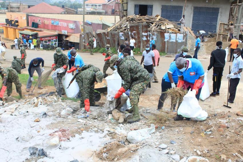 CSOs, religious leaders, Uganda police defence force and members of the public join in the clean-up exercise