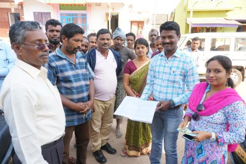 Ganjam district: district and Gram Panchayat officials and the Village Water and Sanitation Committee with the tariff collection registration