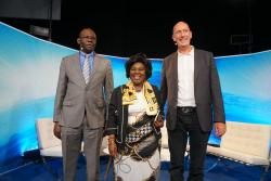 Joseph Oriono Eyatu Commissioner Rural Water and Sanitation Department, Uganda, Honourable Cecilia Abena Dapaah Minister for Sanitation and Water Resources, Ghana and Patrick Moriarty, CEO IRC just after the SIWI sofa session