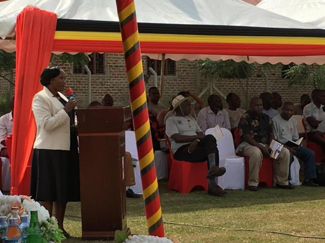 State Minister for Local Government Jennifer Namuyangu speaking at the launch of the master plan