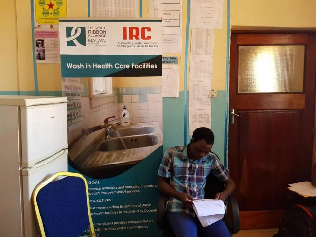 Banner with MWA and IRC logos (photo: WRA Malawi)
