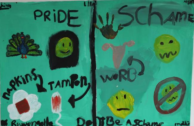 Pride and Shame: Painting by students of the Dr. M.M. den Hertogschool, The Hague, on the importance of menstrual hygiene management and school WASH.