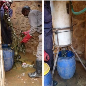 Left: manually taking out solid waste, Right: pumping remaining faecal sludge (photos Seleen Suidman, Kigali, January 2017)