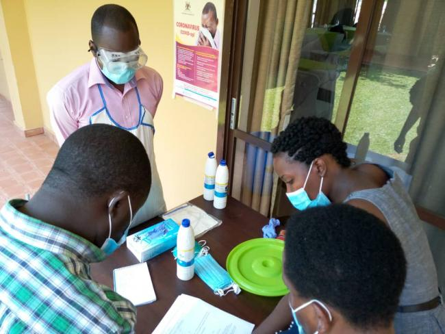 Infection Prevention and Control (IPC) instructions for chlorine disinfection in Kabarole, Uganda
