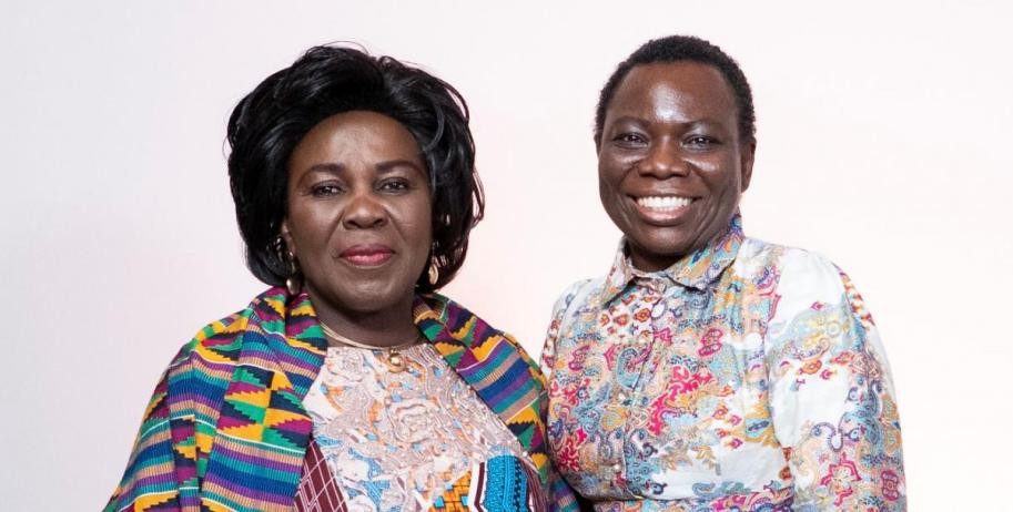 Hon. Cecilia Abena Dapaah, Ghana's Minister for Sanitation and Water Resources (left) and Vida Duti, IRC Ghana Country Director