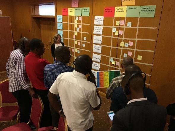 Members of the utility services, local and central government and civil society identify the status of system building blocks in Maputo whilst designing a WASH and water security city programme