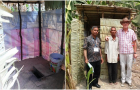 Simple direct pit latrine in Cambodia