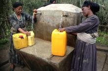 Two women at a water point in Ethiopia