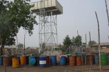 Water tower and drums in Tamale