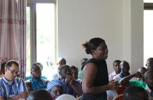 Vida Duti speaking at a sector learning event in Ghana