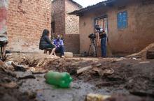 Kenneth Kavulu covering stories of WASH in Kampala, Uganda