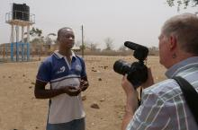 Clement Akazeire Nyaaba, head teacher of Foe Primary School B, being interviewed