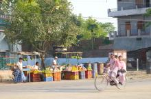 Streetview Nepal with two girls on bicycle