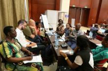 Participants attend a group discussion at the Africa Water Week, Dar es Salaam, July 2016