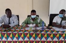 Aboubakar Hema, Maire de Banfora, Issouf Coulibaly, représentant du Gouverneur, Richard Bassono de l'IRC (PH. N-R. ZOHOUN)