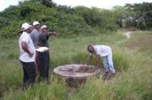 Checking a broken facility in Mozambique
