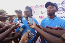 IRC Burkina country director Juste Nansi being interviewed during Global Handwashing Day