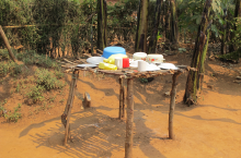 Dish rack in Rwanda. Photo by Dick de Jong