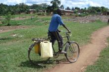hauling water in Uganda
