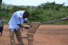 A hand pump mechanic at work in Namayingo District, Uganda
