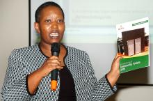 Ms Tumusiime, Ag Executive Director KCCA speaks at the Kampala Water and Sanitation Forum