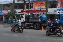 Faecal sludget tanker in Hai Phong City, Vietnam
