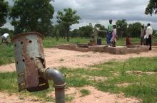Dysfunctional water point in Ghana