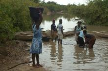 Collecting water from a natural stream in Northern Ghana