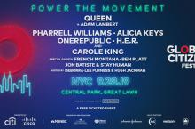 Global Citizen Festival 2019 logo with list of performing artists