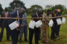 Vice President of Uganda (centre) and other officials at the handwashing day celebrations
