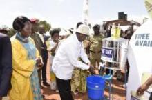 President Yoweri Museveni washes his hands at the Global Hand Washing Day ceremony in Kamuli District, 14th October