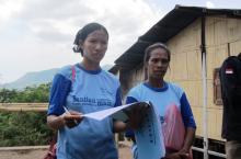 Ladies monitoring sanitation in Indonesian village