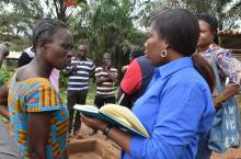 Madam Gloria (Chair WATSAN committee Dominase) in discussion with Rhoda Gyampoh (Community Development Officer - Tarkwa-Nsuaem