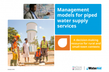Management models for piped water services. Cover photo. WaterAid