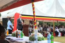 Patrick Moriarty speaking at the launch of the Kabarole master plan