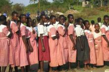 School girls waiting in line. Kamwenge district Uganda. Photo by Bep van Oostrom