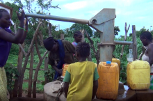 South Ari community fetching water