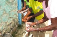 Traditional Birth Attendants practice hand washing