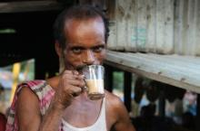 Tea stall owner Bakuhar in Kaliganj trying out his own product