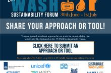 Poster with call for tools for the WASH sustainability forum