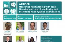 Webinar poster on measuring hand hygiene.