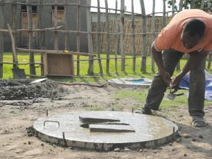 Making a latrine slab in Shashego, Ethiopia